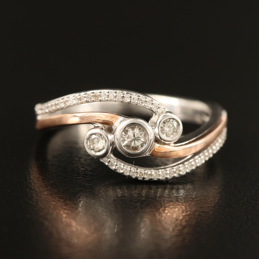Sterling Diamond Ring with 10K Accents