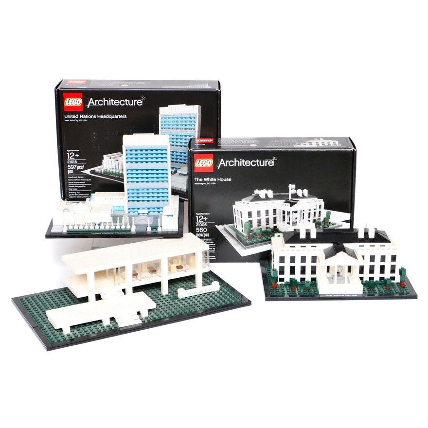 """LEGO Architecture """"The White House"""", """"United Nations"""" and """"Farnsworth House"""""""