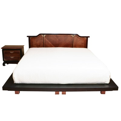 """Broyhill Premier """"Ming Dynasty"""" King Headboard with Platform and Nightstand"""
