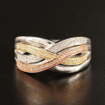 Sterling Diamond Criss Cross Ring