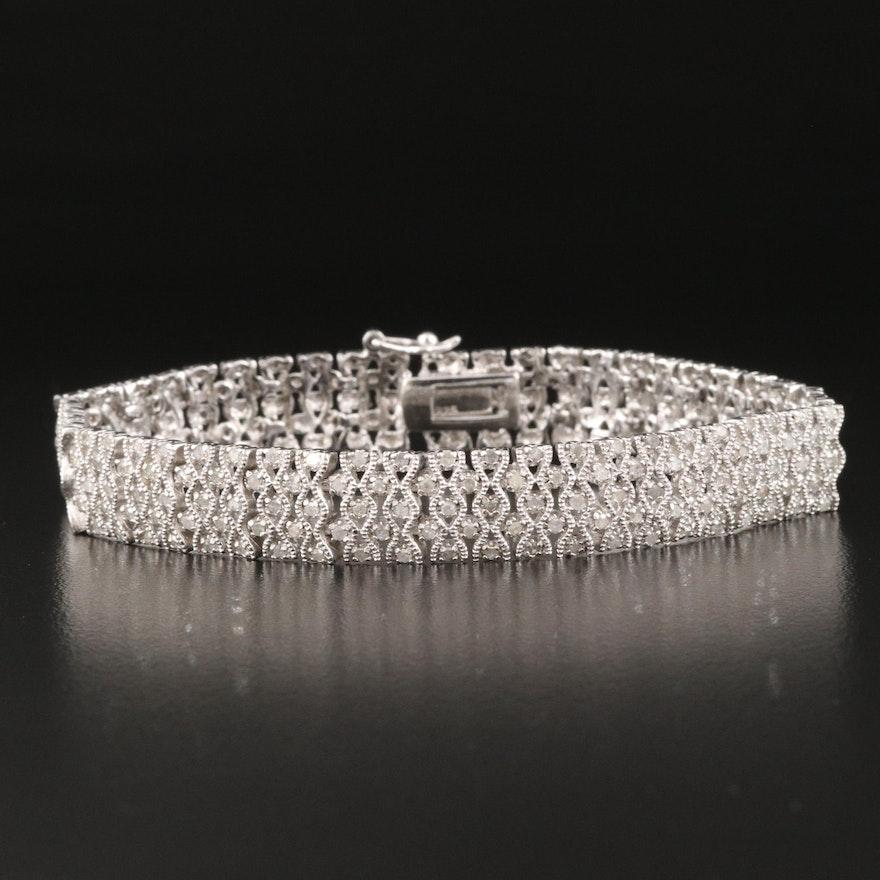 Sterling Silver 1.25 CTW Diamond Milgrain Link Bracelet