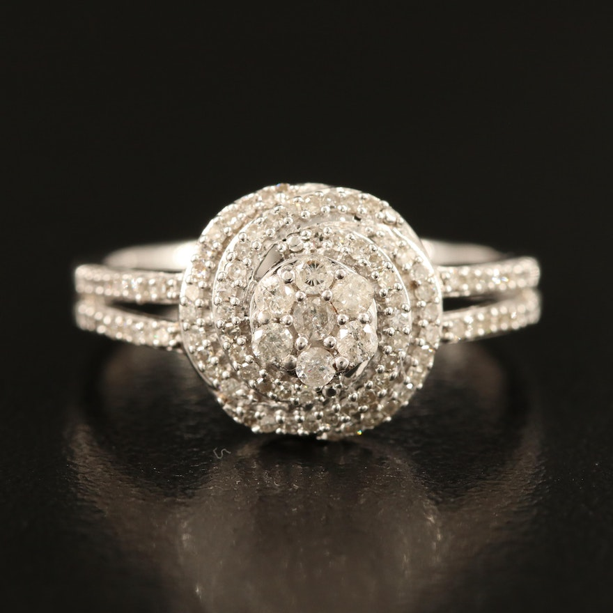 Sterling Silver Diamond Cluster Ring with Split Shoulders