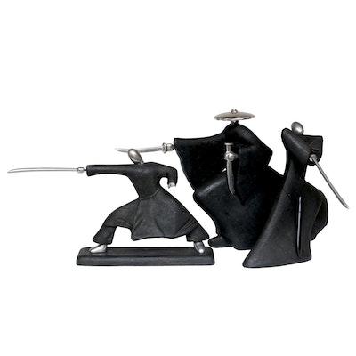 Japanese Samurai Warrior Statues, Late 20th Century