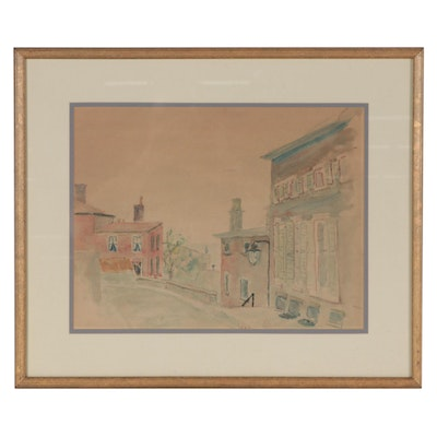 Naive Style Cityscape Watercolor Painting, 1958