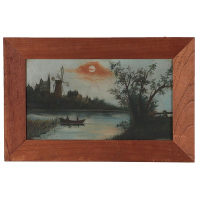 Moonlit Landscape Oil Painting, Early 20th Century
