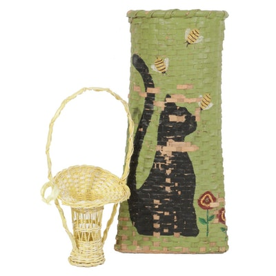 Wicker Funeral Flower Basket and Hand Painted Basket, Mid to Late 20th Century