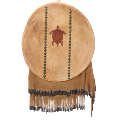 Sioux Style Hide Shield With Turtle Design, Circa 2000