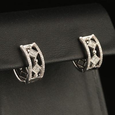 Sterling Silver Diamond Openwork Huggie Hoops