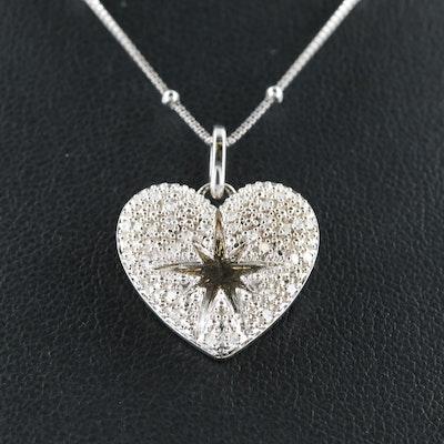 Eva LaRue Sterling Pavé Diamond Heart  and Starburst Necklace