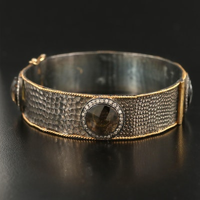 Sterling Smoky Quartz and 1.00 CTW Diamond Hinged Bangle with 14K Accents