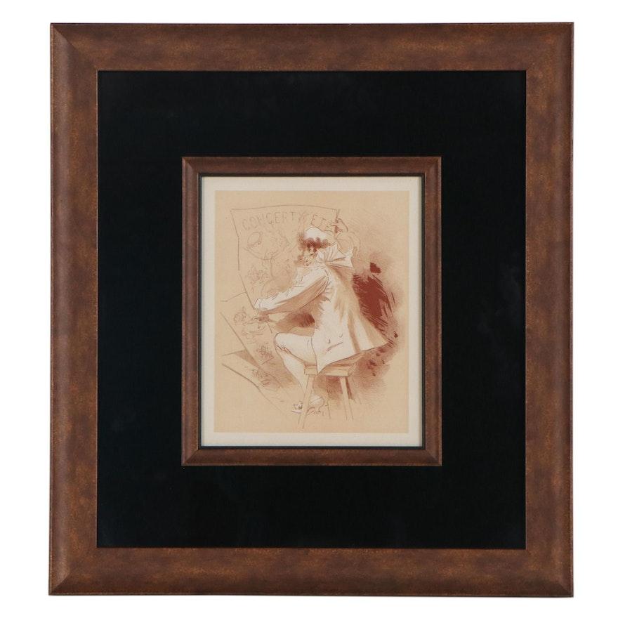"""Lithograph After Jules Chéret """"Harlequin"""""""