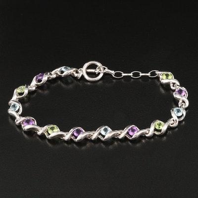 Sterling Silver Amethyst, Peridot and Topaz Bracelet