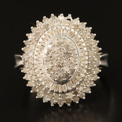 Sterling 2.01 CTW Diamond Tiered Cluster Ring