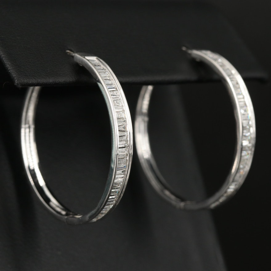 Sterling Silver 1.04 CTW Diamond Hoops