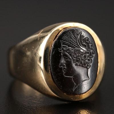 14K Black Onyx Carved Intaglio Ring