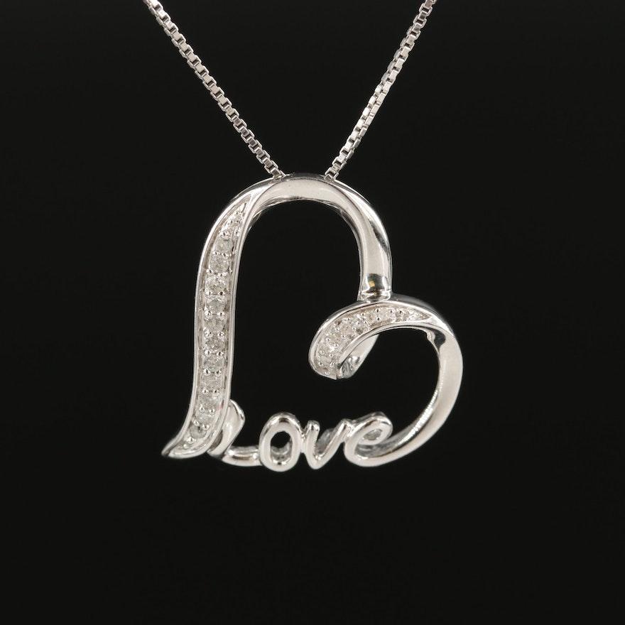 Sterling Diamond Love Heart Pendant Necklace