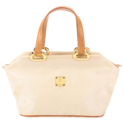 MCM Top Handle Bag in Logo Nylon Canvas with Leather Trim