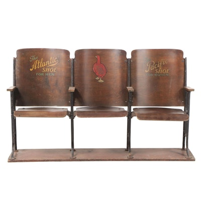 Laminated Wood & Cast Iron Folding Three-Seat Shoe Store Bench with Advertising