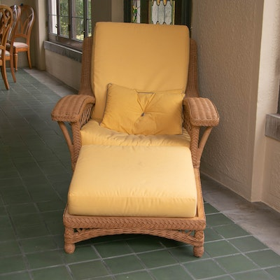 Wicker Cushioned Lounge Chair with Ottoman