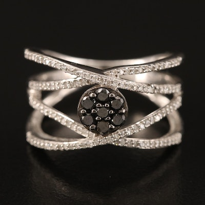 Sterling Diamond Crossover Tapered Band