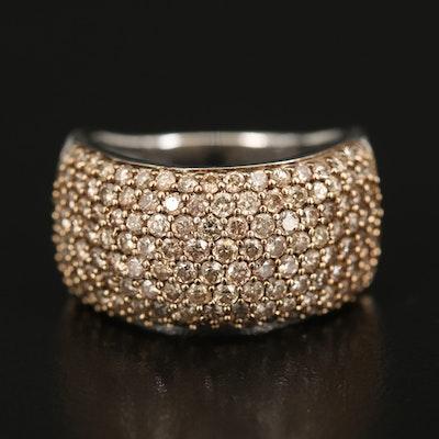 Sterling 2.05 CTW Pavé Diamond Multi-Row Ring