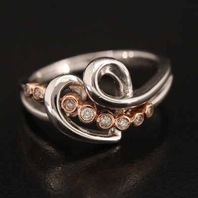 Sterling Diamond Heart Ring with 10K Rose Gold Accent