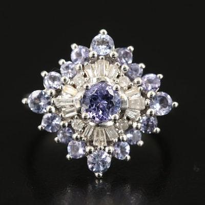 Sterling Tanzanite and Diamond Burst Ring