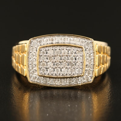 Sterling Diamond Cluster Ring with Scale Textured Shoulder