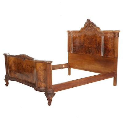 Louis XV Style Carved and Figured Walnut-Veneered Custom Size Bed Frame