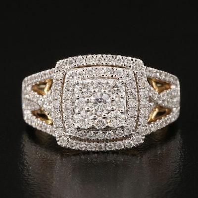 14K 1.01 CTW Diamond Double Halo Ring with Openwork Shoulders