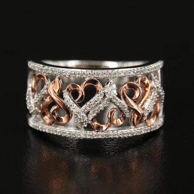 Hallmark Sterling Diamond Openwork Heart Ring
