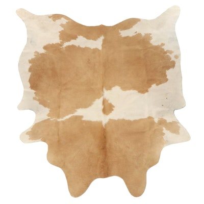 6'8 x 7'6 Natural Brown and White Cowhide Area Rug