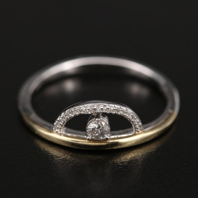 Sterling Diamond Semi-Circle Ring with 10K Accent