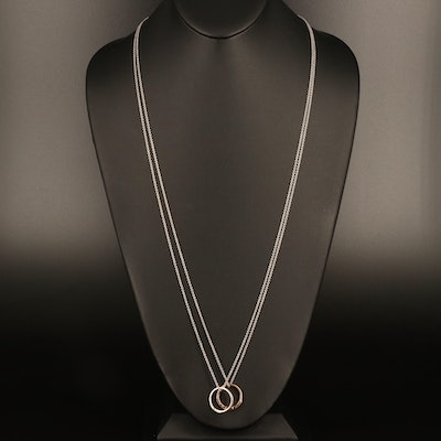 Sterling and 10K Rose Gold Diamond Ring on Rolo Chain Necklaces