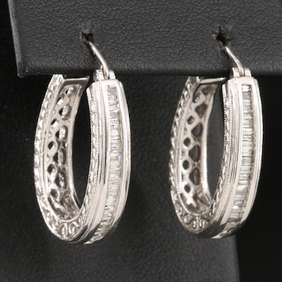 Sterling Silver Channel Set Diamond Oval Hoops with Openwork Accents