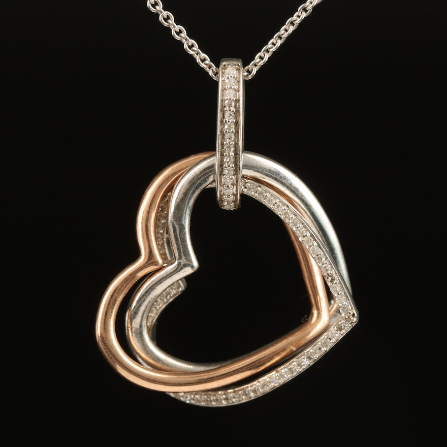 Sterling Diamond Interlocking Heart Pendant Necklace with 10K Accent