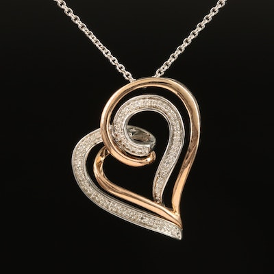 Sterling Diamond Heart Necklace with 10K Accent