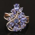 Sterling Tanzanite and Diamond Ring