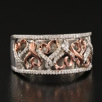 Hallmark Sterling Diamond Scrolled Heart Ring
