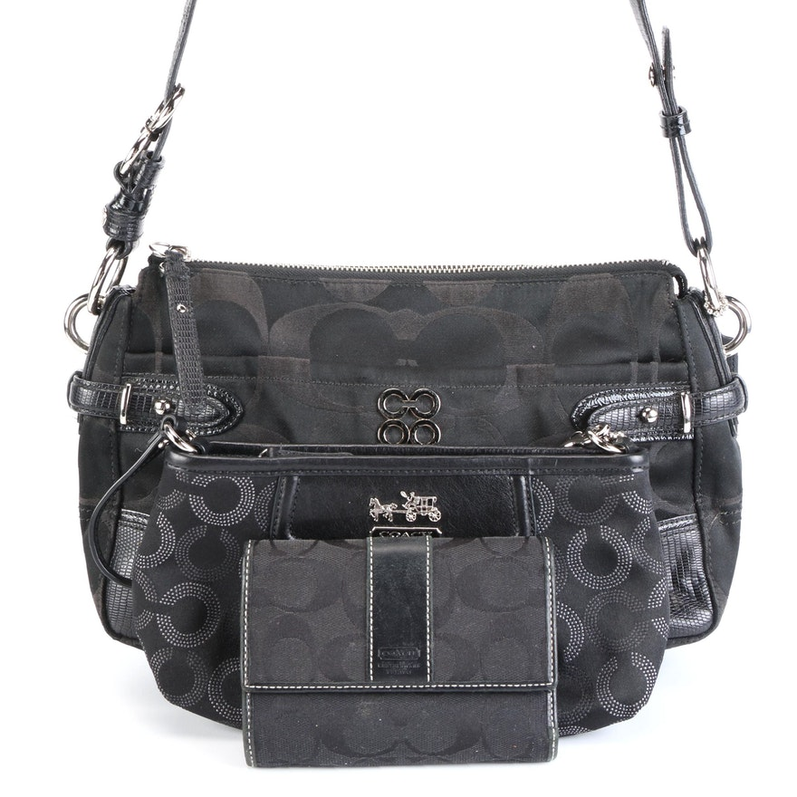 Coach Colette Shoulder Bag, Wristlet, and Wallet in Canvas with Leather Trim