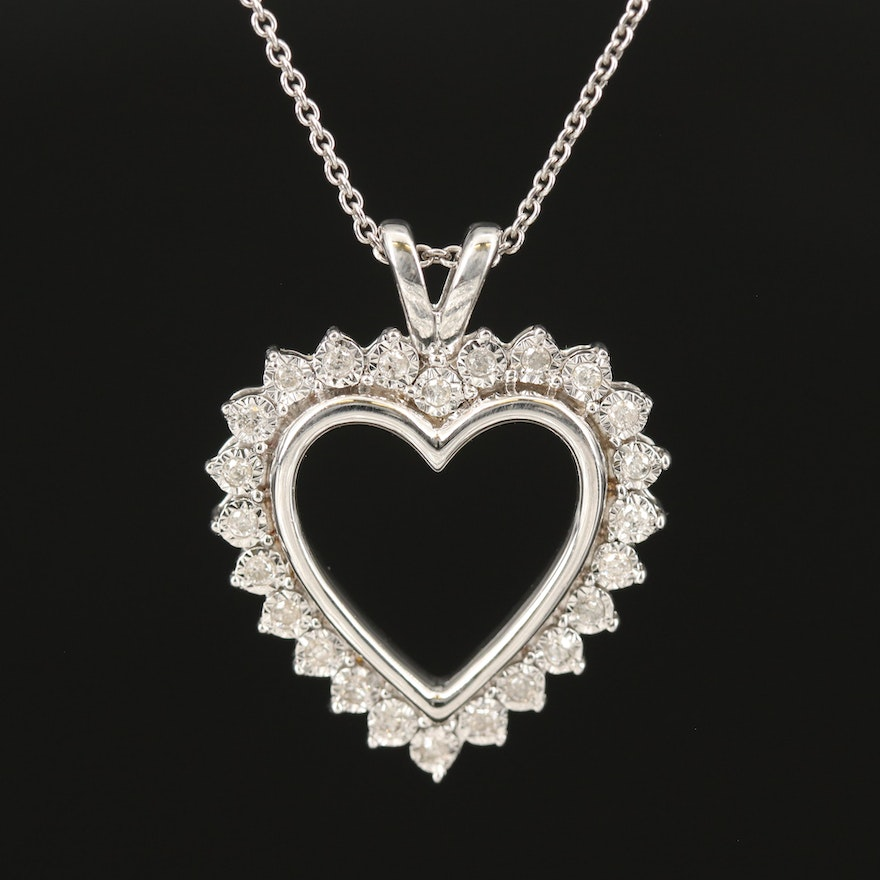 Sterling Heart Illusion Set Heart Pendant Necklace