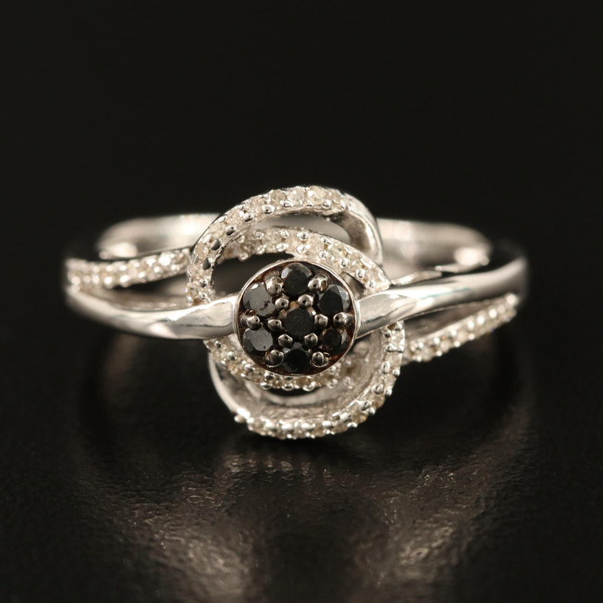 Sterling Diamond Openwork Bypass Ring