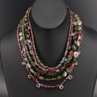 Beaded Tourmaline Tiered Necklace with 18K Clasp