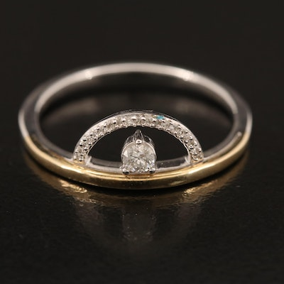 Sterling Diamond Half Circle Band with 10K Accents