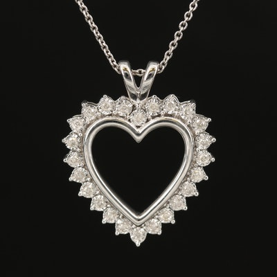 Sterling Illusion Set Diamond Heart Pendant Necklace