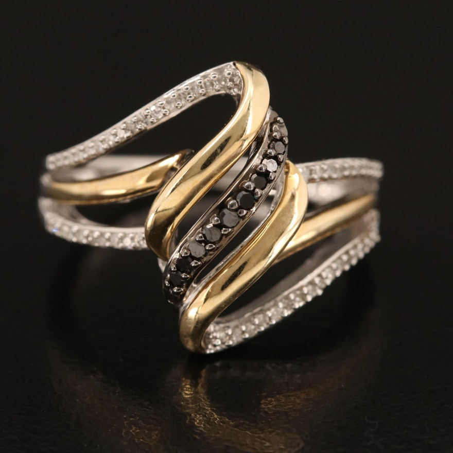 Sterling Diamond Stylized Band with 10K Accents