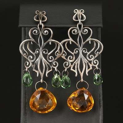 Sterling Citrine and Glass Chandelier Earrings