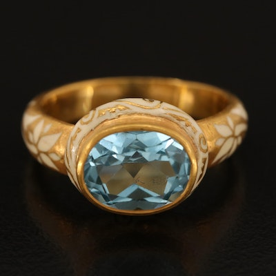 18K East-West Sky Blue Topaz Ring with Enamel Floral and Scrollwork Detail