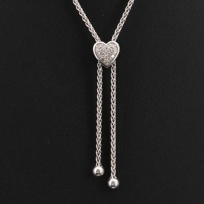 Sterling Pavé Diamond Bolo Heart Necklace