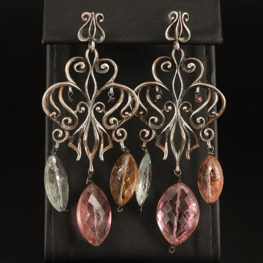 Sterling Tourmaline Chandelier Earrings